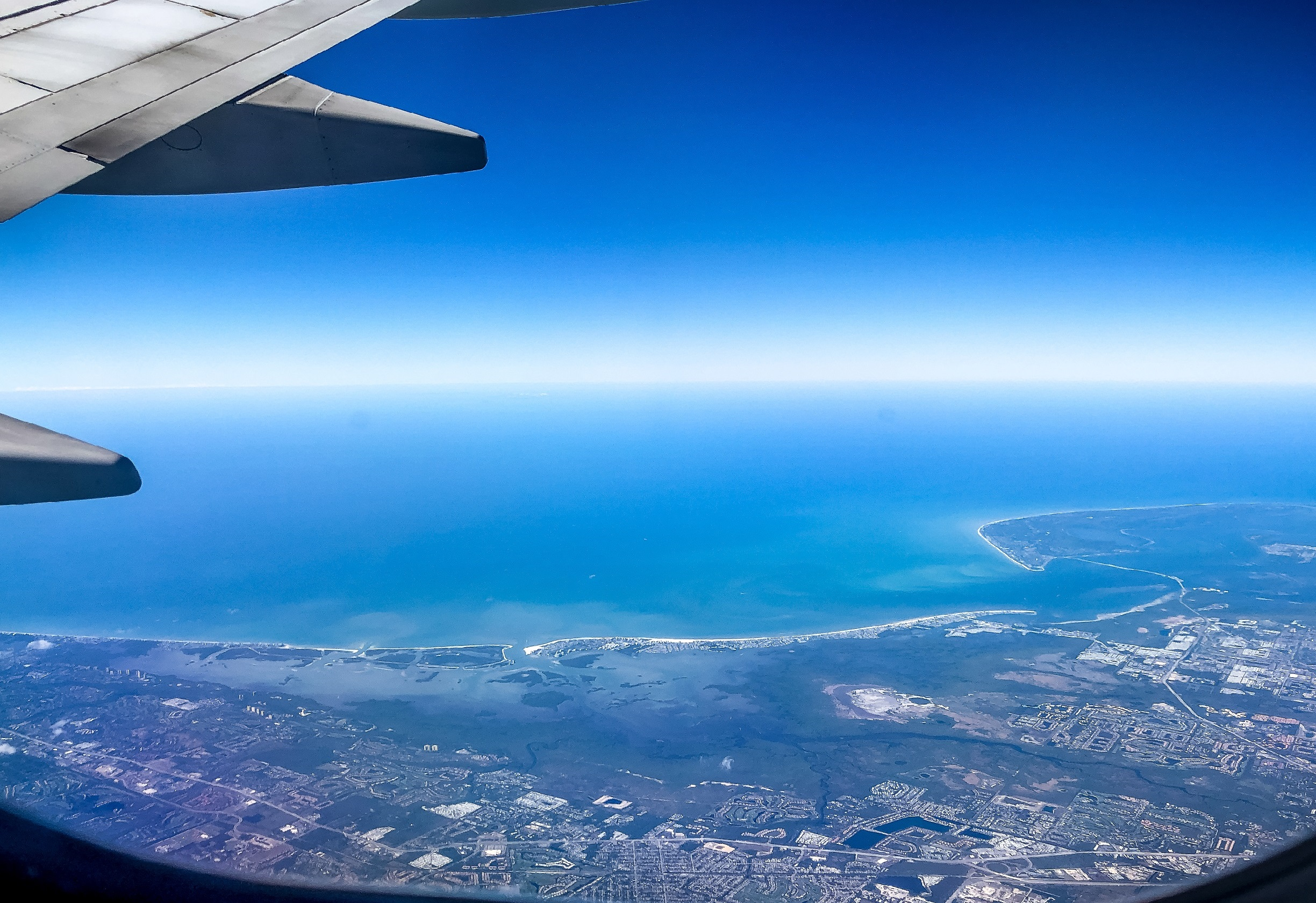 View over SWFL coastline from an airplane